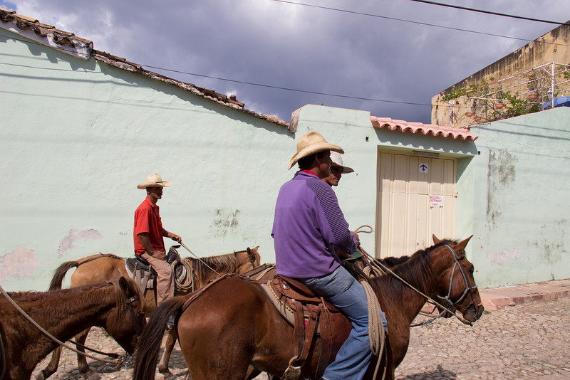 Cowboys riding the streets of Trinidad.
