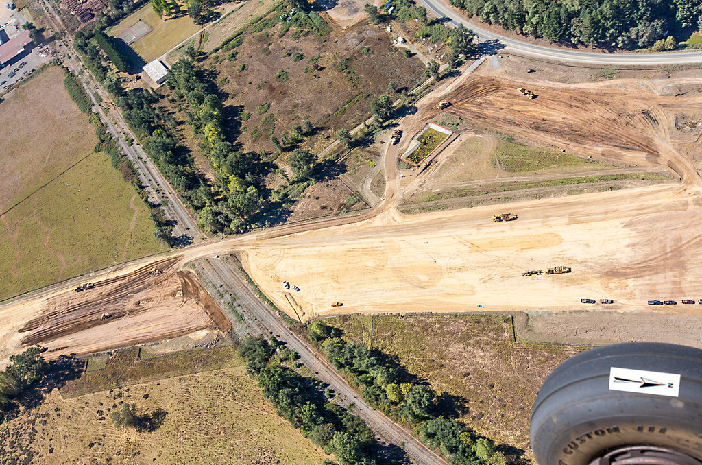 . The northern interchange where it will cross the railroad. Willits bypass construction overflight Sept. 5; Pilot Mike Smith; photographer Steve Eberhard/TWN