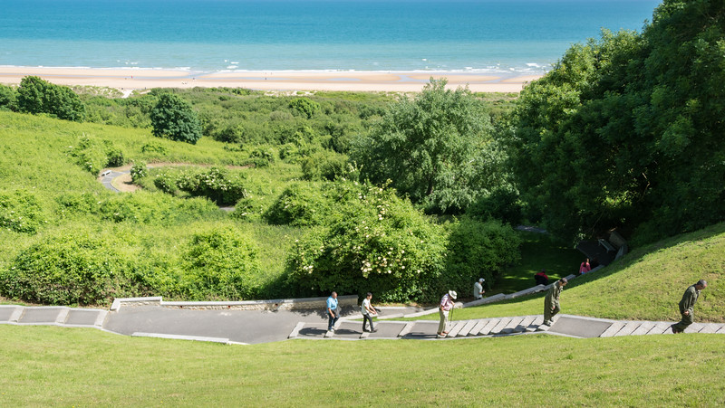Omaha Beach.  This walk follows the path that Allied forces took in fighting their way to the top.