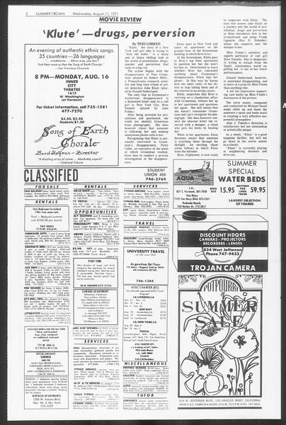 Summer Trojan, Vol. 63, No. 14, August 11, 1971