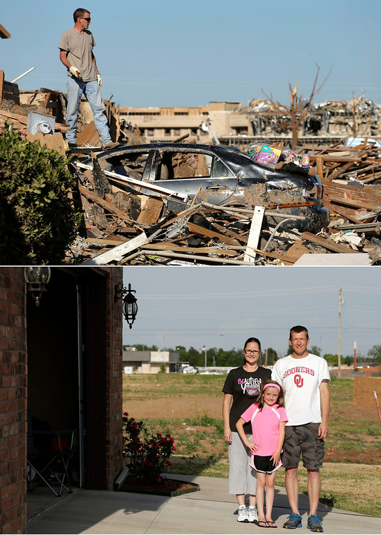 . In this photo combination, Ben Osborne surveys the scene as he sorts through his tornado-ravaged home on May 22, 2013, in Moore, Okla., top, and Osborne stands for photo with his wife Deidra and daughter Hannah, on the site where Deidra rode out the storm in shelter with 13 of her neighbors on May 8, 2014. (AP Photo/Charlie Riedel)
