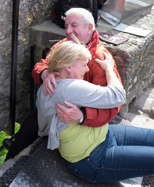 Nice man gets a nice hug from a laughing Anna.
