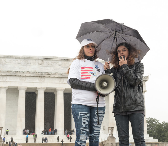 Shaheera Jalil-Albasit, cousin of Sabika Sheikh,  who was a  Pakistani exchange student killed in the Santa Fe school shooting, delivers remarks at the Audacity To Love March on The Polls March on Saturday,  October 27, 2018