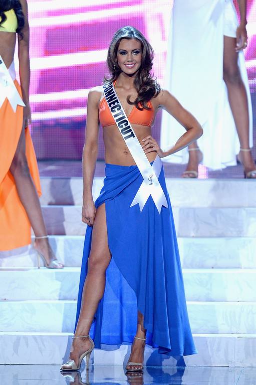. Miss Connecticut USA Erin Brady competes in the swimwear competition during the 2013 Miss USA pageant at PH Live at Planet Hollywood Resort & Casino on June 16, 2013 in Las Vegas, Nevada. Brady went on to be crowned the new Miss USA  (Photo by Ethan Miller/Getty Images)