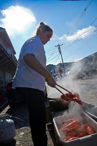 Miranda Havalotti, Porthole Kitchen Staff, cooking lobsters.