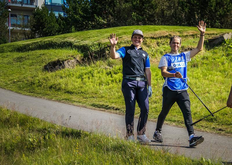 Logi Sigurðsson, Sveinn Andri Sigurpálsson.  Íslandsmót golf 2019 Grafarholt - 1. keppnisdagur. Mynd: seth@golf.is