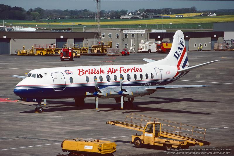 G-AOYR. Vickers 806 Viscount. British Air Ferries. Prestwick. May 1993.