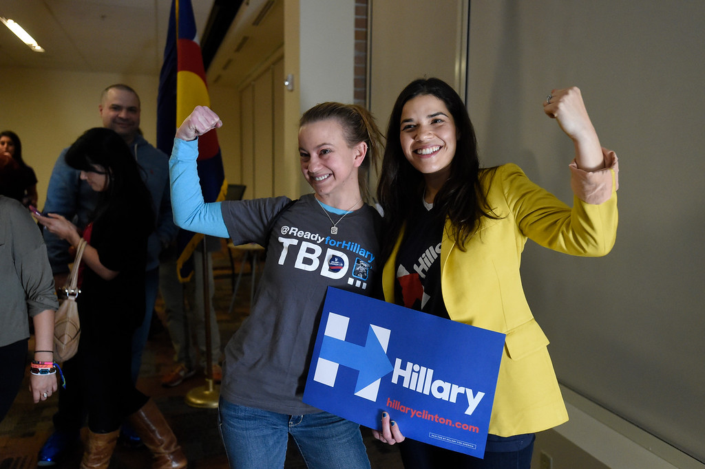 . DENVER, CO - FEBRUARY 18: Gillian Wood poses for a photo with actress America Ferrera after campaigning for Hillary Clinton in Denver February 18, 2016 at the Anderson Academic Commons. Chelsea Clinton and America Ferrera spoke to about 100 supporters.  (Photo By John Leyba/The Denver Post)