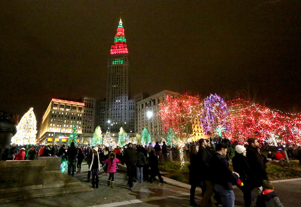 . Visitors mingle throughout Cleveland�s Public Square following the city�s 2016 Winterfest lighting ceremony. This year, the celebration will be held Nov. 25. For more information, visit www.downtowncleveland.com/events/winterfest. (News-Herald file)