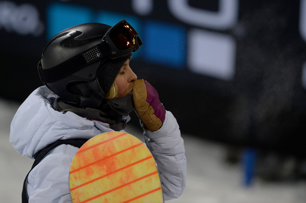 . Torah Bright blows a kiss to the crowd during the women\'s snowboard half pipe final. Winter X Games on Saturday, January 24, 2015. (Photo by AAron Ontiveroz/The Denver Post)
