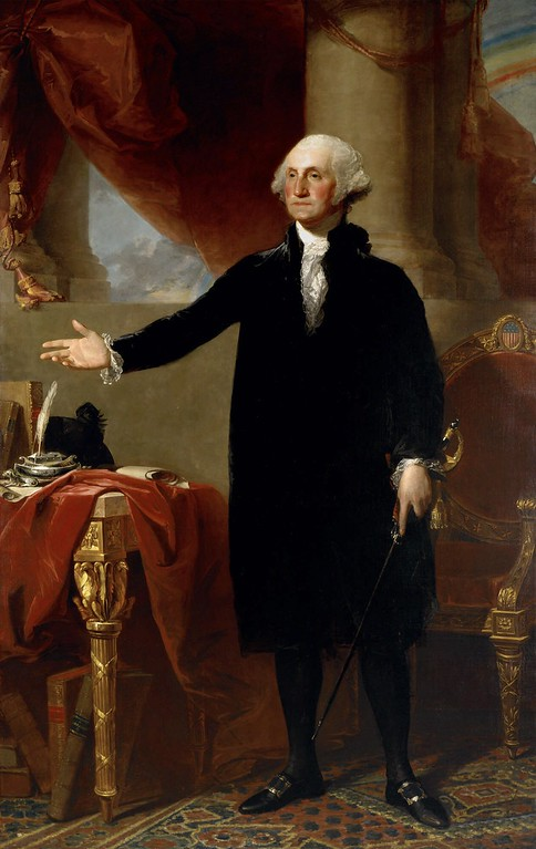 . This undated file photo of a 1796 Gilbert Stuart oil on canvas painting portrays George Washington, founding father and first president of the United States.  (AP Photo/File)