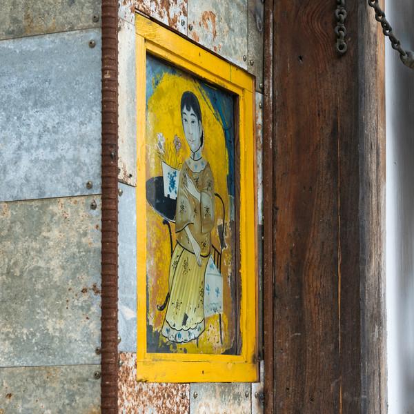 Close-up of a painting, Bukchon Hanok Village, Seoul, South Korea