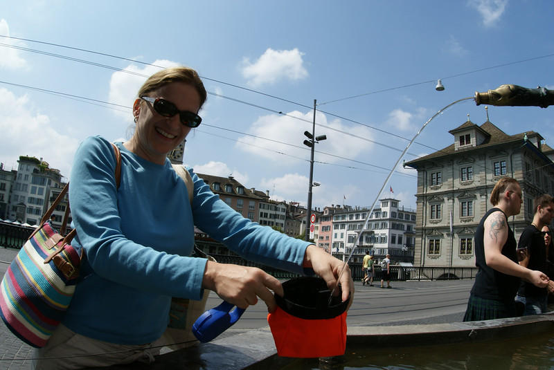 Noodle got thirsty in Zurich so we filled her bowl from one of the many public fountains.