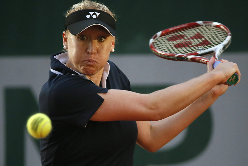 . Britain\'s Elena Baltacha returns to New Zealand\'s Marina Erakovic during their French Tennis Open first round match at the Roland Garros stadium in Paris, on May 28,  2013.   KENZO TRIBOUILLARD/AFP/Getty Images