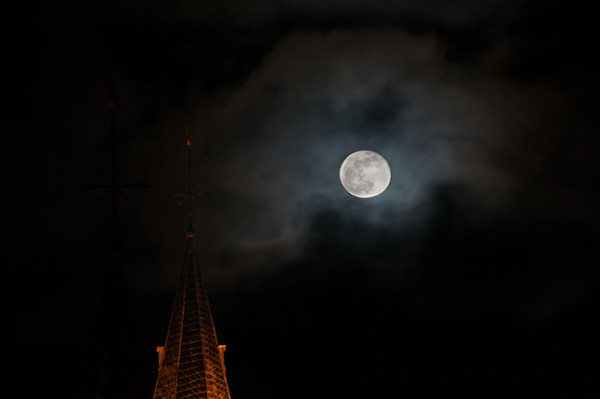 Super Blue Blood Moon over the Church Spire