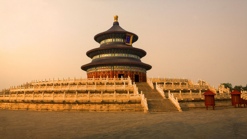 "Temple of Heaven at Dusk.    27"" x 15"""