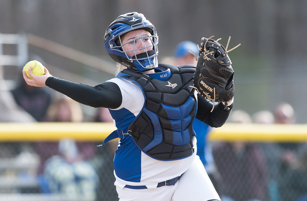 04/09/18 Wesley Bunnell | Staff Southington softball defeated Bristol Eastern 6-1 at Southington High School on Monday afternoon. Katelyn Lipsky (11)
