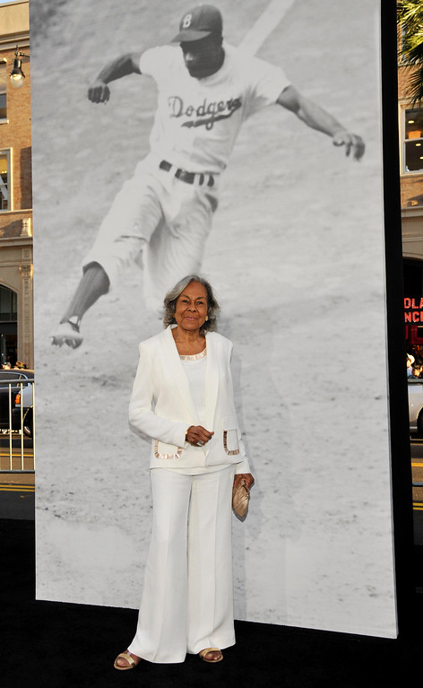 . Rachel Robinson, widow of the late baseball legend Jackie Robinson, poses at the Los Angeles premiere of the film at the TCL Chinese Theater on Tuesday, April 9, 2013 in Los Angeles. (Photo by Chris Pizzello/Invision/AP)
