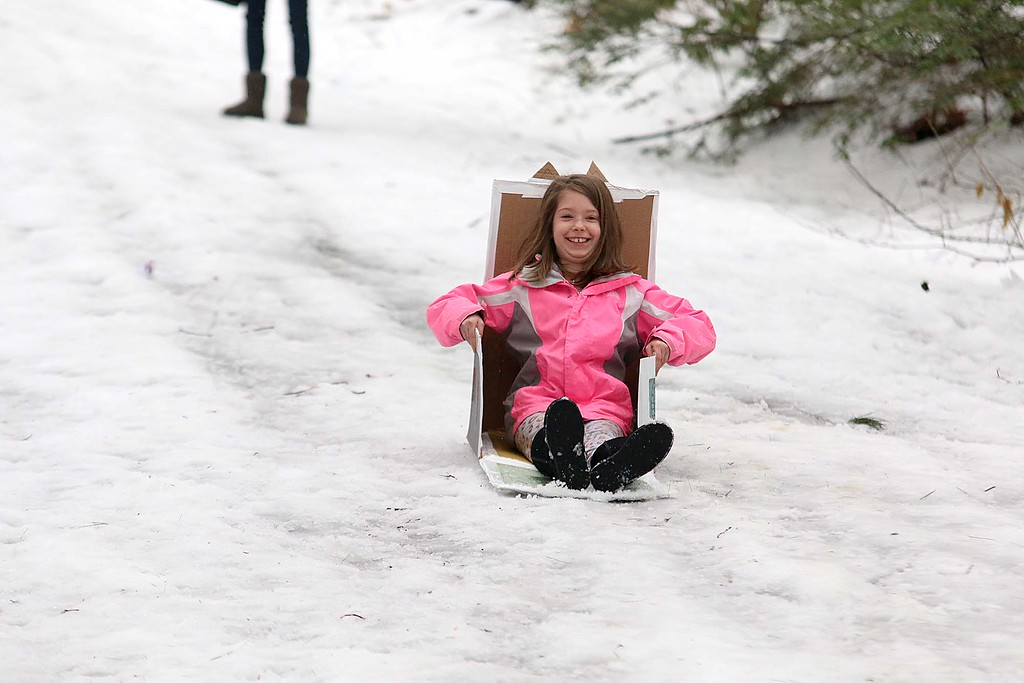 . Having fun in her cardboard sled the Fitchburg Winterfest at Coggshall Park is Olivia Cole, 10. SENTINEL & ENTERPRISE/JOHN LOVE