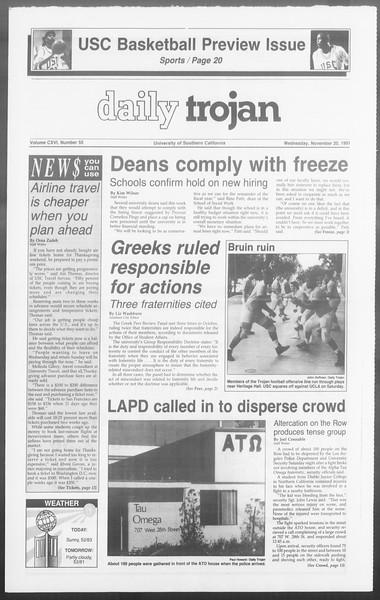 Daily Trojan, Vol. 116, No. 56, November 20, 1991