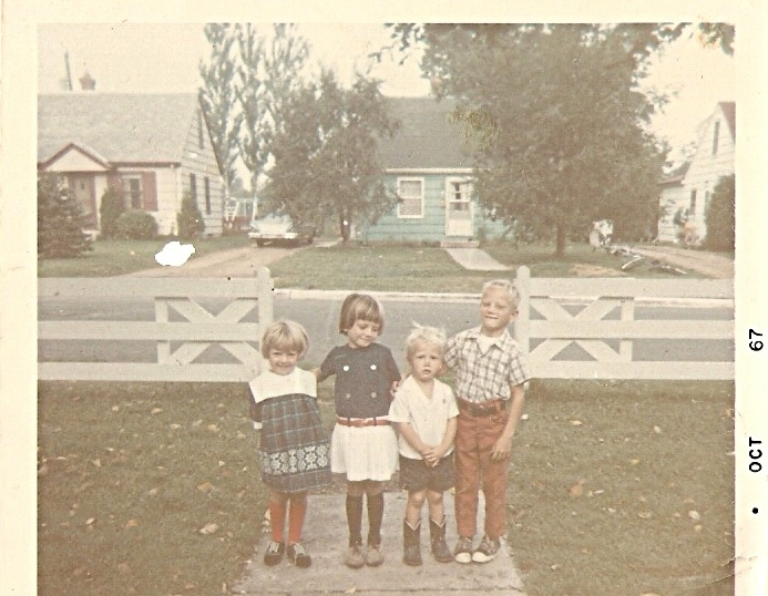 "Description of . IN SEARCH OF A PSEUDONYM: ""This photo is of my siblings and me on the first day of school 1967. My baby brother, the smallest one in the picture, will turn 50 this month. We picked our own outfits then, and we do an even better job now!"""
