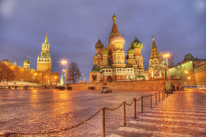 Russian icons: St. Basil's Cathedral and Spassky Tower of the Kremlin. Moscow, Russia. (HDR)