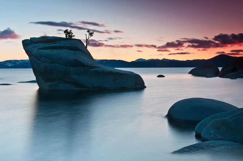 After abandoning this composition and walking around trying to find a better spot I thought I might try it again now that the sun had gone down some more. Again, I still found it to be too busy. I also ran into a problem where my filters were filtering Bonsai Rock (because the rock was above the horizon line). I turned the filters to about 45° which brought some pink/orange colors out in the sky on the right but left a weir brighter sky on the left. Again, another icky photo but for teaching purposes for others I posted this anyways.