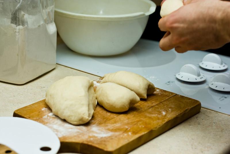 Making hamburger buns.