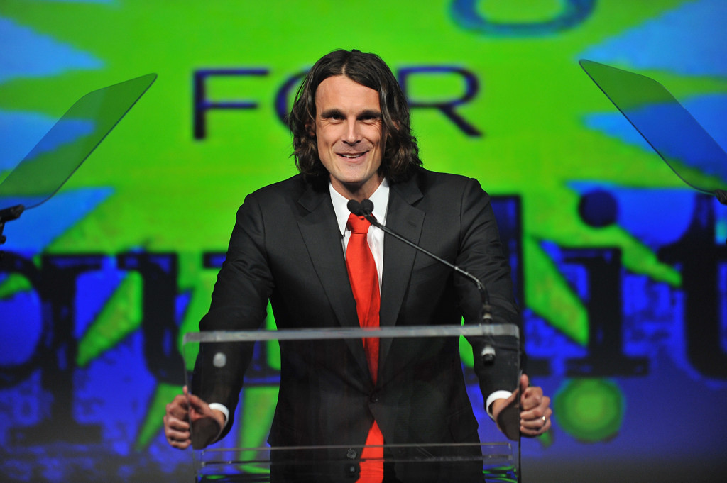. Minnesota\'s Chris Kluwe speaks onstage at the fifth annual PFLAG National Straight for Equality Awards at Marriott Marquis Hotel on April 4, 2013 in New York City.  (Photo by D Dipasupil/Getty Images for PFLAG)