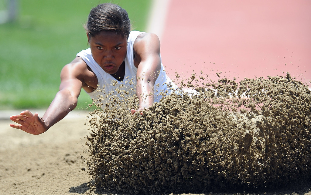 . Sultana\'s Bailey Hall in the long jump during the CIF-SS track & Field championship finals in Hilmer Stadium on the campus of Mt. San Antonio College on Saturday, May 18, 2013 in Walnut, Calif.  (Keith Birmingham Pasadena Star-News)