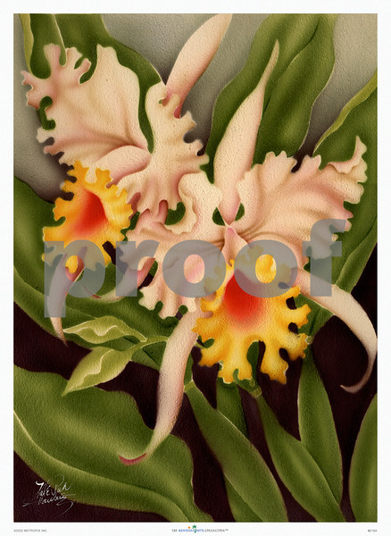 218: Hawaiian Orchid, by Hale Pua Studio, originally airbrush on board, and now a lovely floral print or poster from The Hawaiian Days Collection™. (PROOF watermark will not appear on your print)