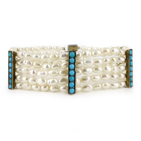 Antique Art Deco German Silver Turquoise Panel Pearl Bracelet