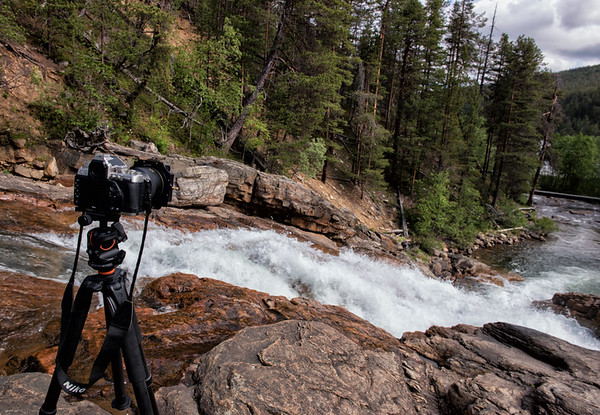 Nikon DF, Vanguard Alta+ tripod and BBH-300 head, and Lee Filters setup at Ravadas Falls in Finland.