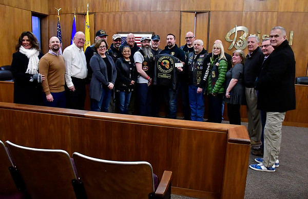 1/31/2020 Mike Orazzi | Staff The Veterans Strong Community Center was the recipient of a generous donation on Friday made by the Combat Veterans Motorcycle Association Chapter 31-1. Several members of the motorcycle group presented a $2,000 check to the nonprofit Bristol group during a check passing in City Hall.