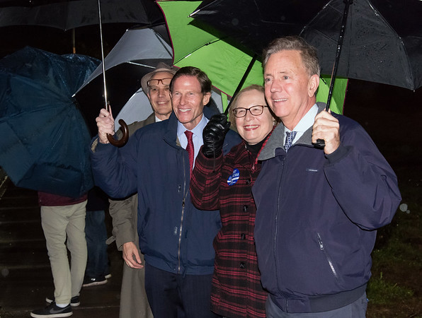 11/06/18 Wesley Bunnell | Staff Posing for a photo outside of the Pulaski Middle School voting location are Rep. Peter Tercyak, Senator Richard Blumenthal, State Senator Terry Gerratana and democratic candidate for governor Ned Lamont.