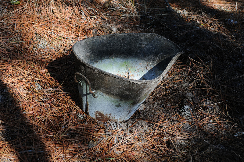 "Found bottomless, upside down.....my grandfather used to call this a ""coal"" bucket but I guess it could have been used for corn or water.....the galvanization process on old metal was a lot better than today's."