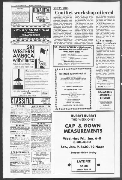 Daily Trojan, Vol. 62, No. 60, January 08, 1971
