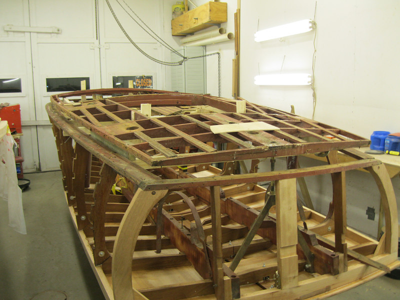 Rear port view of deck framing removed from the top plate.