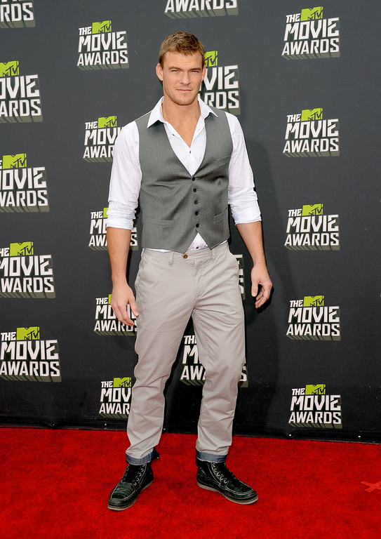 . Actor Alan Ritchson arrives at the 2013 MTV Movie Awards at Sony Pictures Studios on April 14, 2013 in Culver City, California.  (Photo by Jason Merritt/Getty Images)