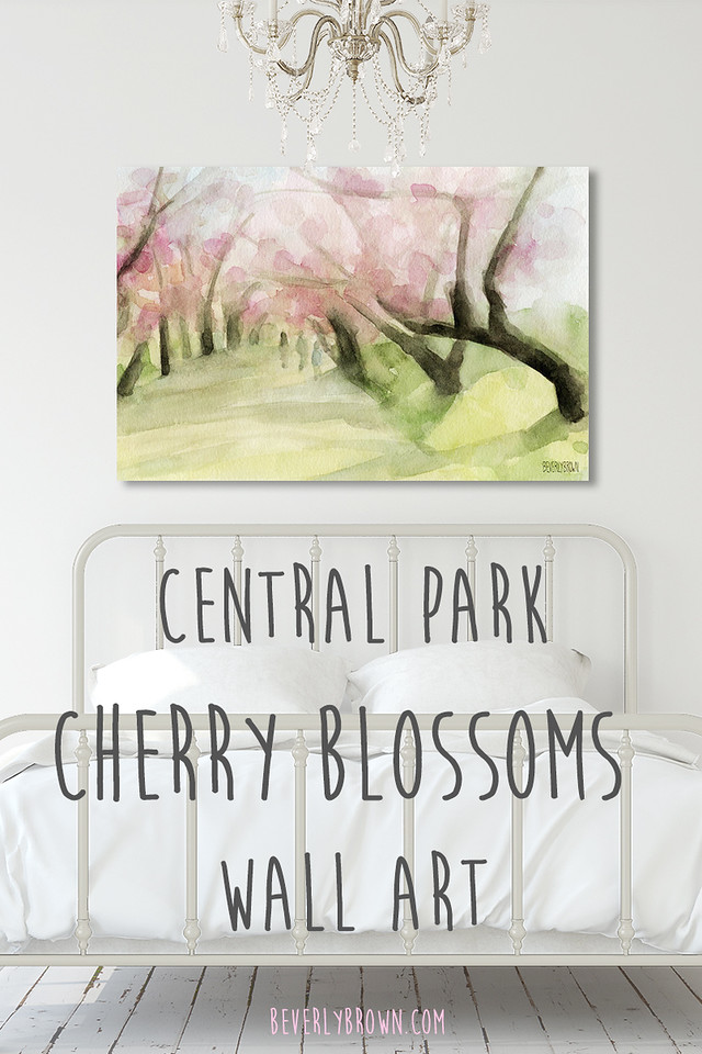 Central Park Cherry Blossoms Painting Print in White Bedroom