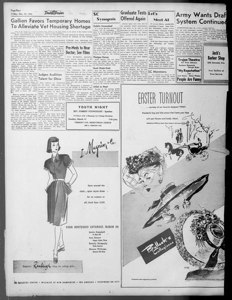 Daily Trojan, Vol. 37, No. 95, March 29, 1946