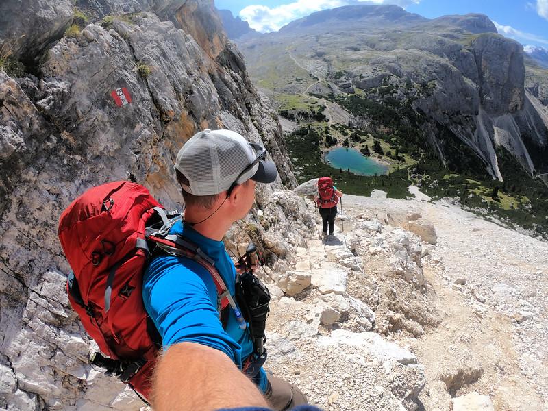 David Stock hiking in the Italian Dolomites