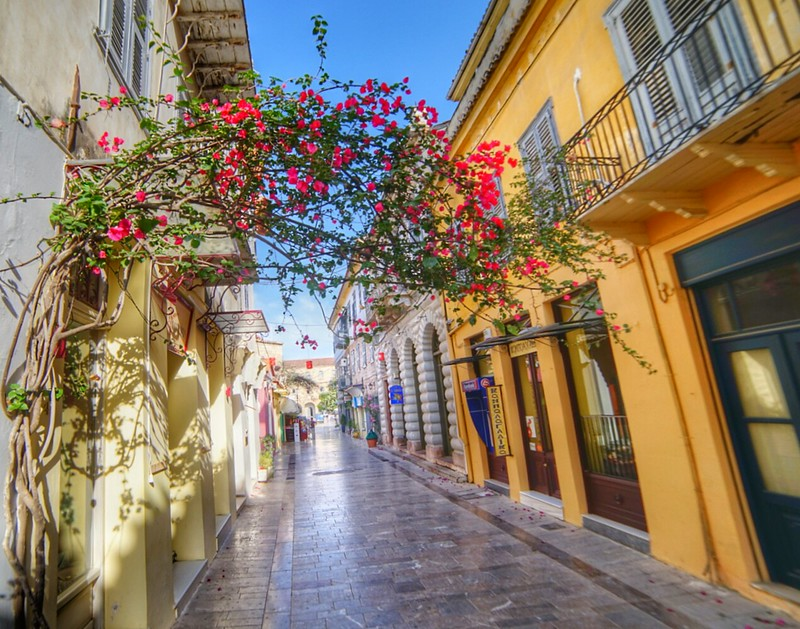 Nafplio, Greece, fisheye, street, roses, ancient, old city