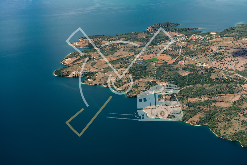 Aerial landscape showing the area of Sparto  at the Ambracian Gulf in Greece.