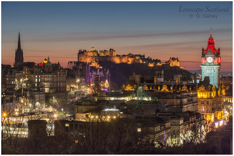 Edinburgh Castle and central Edinburgh from Calton Hill at dusk (09)