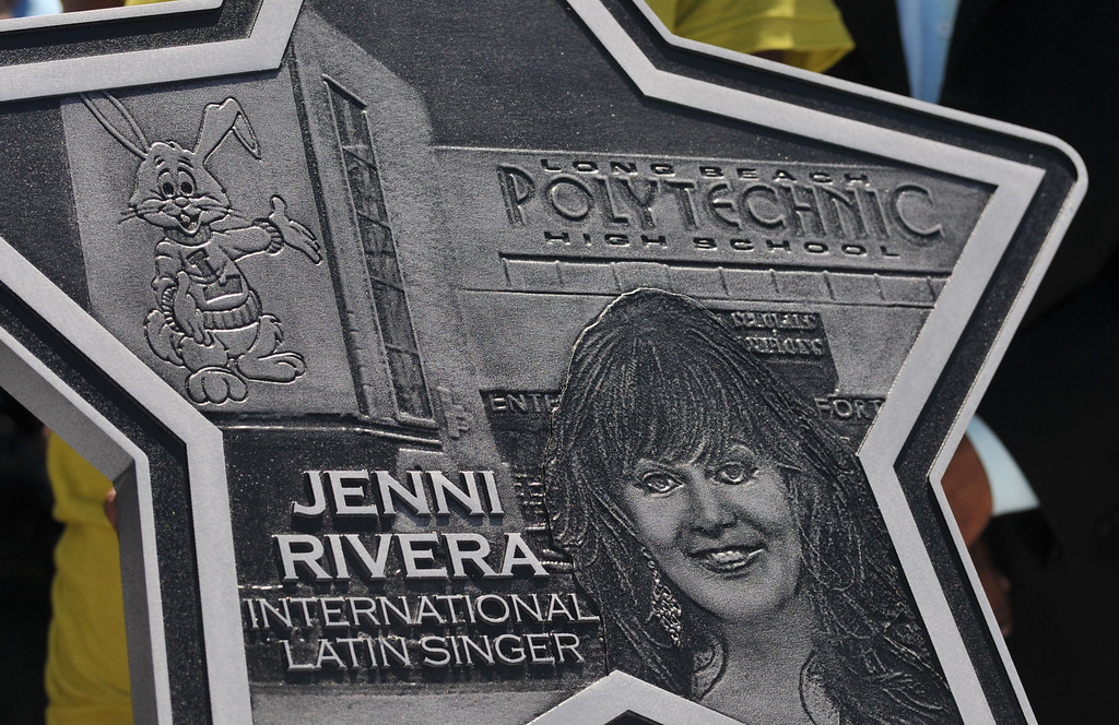 . Long Beach Poly alum Jenni Rivera was honored Tuesday with a star on the Poly Walk of Fame. Rivera is internationally famous in the Latin music scene and also stars in her own reality television show.  Close-up of the plaque that will be on the Poly Walk of Fame..July 26, 2011..Photo by Steve McCrank / Daily Breeze
