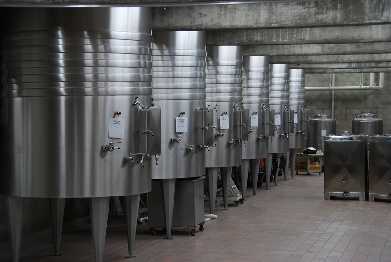 Fermentation tanks at Opus One.