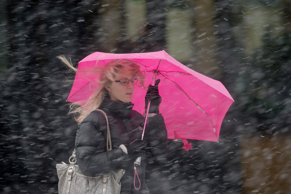 . A woman shields herself from a winter snow storm with an umbrella Friday, March 8, 2013, in Philadelphia.  Many areas in the state reported 4 to 6 inches of snow. (AP Photo/Matt Rourke)