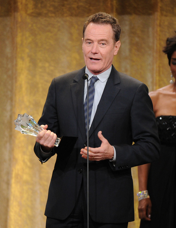 """. Actor Bryan Cranston accepts the award for best actor in a drama series or \""""Breaking Bad\"""" at the Critics\' Choice Television Awards in the Beverly Hilton Hotel on Monday, June 10, 2013, in Beverly Hills, Calif. (Photo by Frank Micelotta/Invision/AP)"""