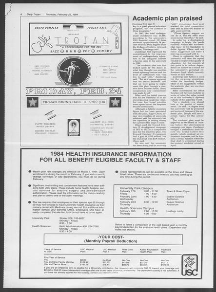 Daily Trojan, Vol. 95, No. 31, February 23, 1984